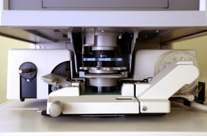 Microfiche reader in closeup